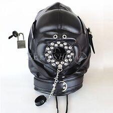 Open Mouth Gag Leather Full Gimp Hood Mask Padded Locking Eyes Blindfold Bandage