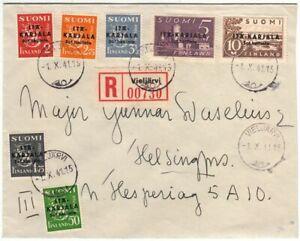East Karelia Carelia Black Overprint Complete Set Vieljärvi Finland FDC 1941