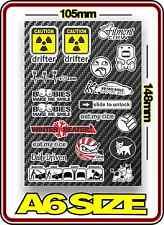 RC DRIFT STICKER SHEET A6 1/10 ABC HPI MST YOKOMO TAMIYA BODY PANDORA 3 RACING 3