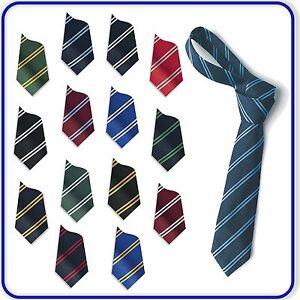 """New Excellent Quality Boys Girls SCHOOL DOUBLE STRIPED TIES 40"""" 45"""" 48"""" 52"""" 54"""""""