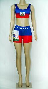 HAITI FLAG YOGA SHORTS AND SPORTS BRA