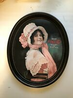 """Vintage 1972 Coca-Cola Metal Oval Serving Tray 1914 Betty Girl 15"""" X 12.5"""""""