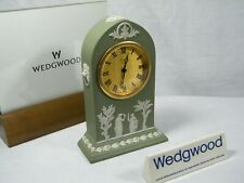 "Wedgwood "" Cathedral "" Jasper Ware Clock in Green with Swiss movement Superb !!!"