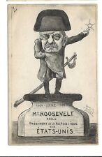 1904 French Cartoon Postcard Teddy Roosevelt as Napoleon #2 Artist Signed Orens