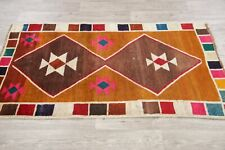 3' x 5' Vintage Modern Gabbeh Wool Hand-Knotted Geometric Oriental Area Rug
