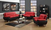 NEW Black Red Leather Gel 3PC Sofa Loveseat Chair Set Modern Living Furniture