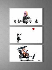 Banksy Donut Police, Balloon Girl, Rickshaw Stretched Canvas Triptych. BONUS!!!