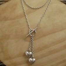 LOVELY ITALIAN STERLING SILVER DOUBLE HEART & T BAR NECKLACE