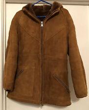 Women's Vintage MAKRAY Sheep Skin Wool Fur Ranchers Winter Coat. Size 12 Brown