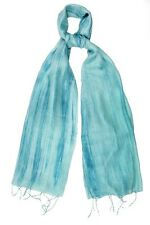 Aqua and Blue Pure Silk Scarf - Fair Trade BNWT 180cm x 80cm