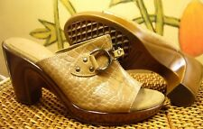 Cute~AEROSOLES Tres Chic Nude Embossed Leather Slide Sandal Pumps Women's 8 M