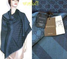 "GUCCI wool/silk Navy Blue Monogram Giant 55""-sq scarf PASHMINA shawl NWT Authent"