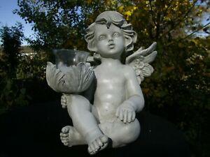 großer Engel Figur  Engel sitzend  mit Kerze Glas Kerze h 23c