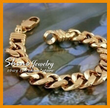 9K GOLD FILLED CHUNKY CURB RING LINK CHAIN MENS GIFT heavy SOLID BANGLE BRACELET