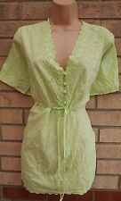 M&CO NEON LIGHT GREEN FLORAL EMBROIDERED BELTED HALF BUTTONED BLOUSE TOP 24