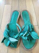Sundance Catalog Turquoise Italian Leather Flip Flop Sandals Flower Size 37 6