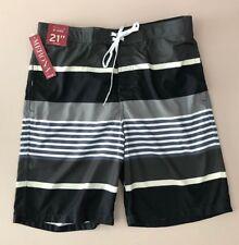 Mens Merona Swim Trunks Board Shorts railroad Grey White Striped  Size M medium