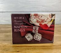 Vintage Set of 4 Genuine Silver-plated Filigree Napkin Rings in Original Box