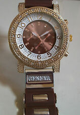 BROWN/GOLD FINISH SILICONE BAND  HIP HOP BLING  FASHION WATCH