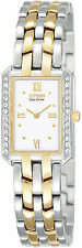 Citizen EW9394-51A Ladies Watch Eco-Drive Silhouette White Dial with Crystals