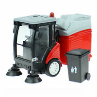 1:50 Road Sweeper Garbage Truck Trash Bin Model Car Diecast Toy Light Sound Red