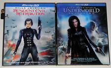 Horror Blu-ray 3D Lot - Resident Evil Retribution (Used) Underworld Awakening