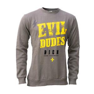 John Richmond Herren Pullover, Sweater, Evil Dudes, mit Nieten-Aufdruck, grau