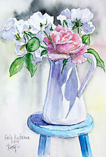 Roses in a Jug watercolor flower original painting nature garden still life art