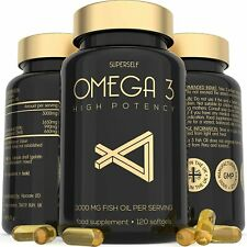 Omega 3 Fish Oil Capsules - 1000mg High Strength Supplement 120 Softgel Tablets