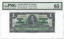 CANADA 1 Dollar 1937, BC-21d Coyne / Towers, PMG 65 EPQ Gem UNC, Scarce Grade