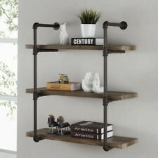 Three Tier Faux Wood Industrial Pipe Three Shelf rustic wall easy mounting