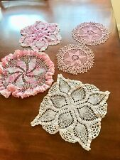 New listing Lot Of 5 Hand Crocheted Doilies, Various Sizes, Shapes & Shades Of Pinks