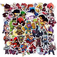 PACK DE 50 PCS AUTOCOLLANTS STICKERS SUPER HEROS MARVEL DC COMICS DECORATION