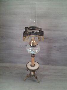 """UNIQUE/Antique """"P & A"""" Banquet - Marble Stemmed - Oil Lamp"""