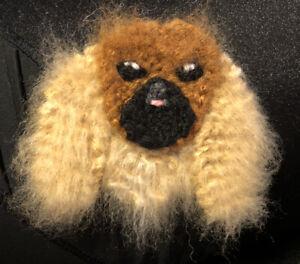 PEKINGESE KNITTED DOG BROOCH