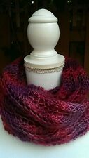 Handmade Knitted Cowl Infinity Scarf  Winery lace acrylic