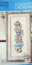"1 Pretty ""Teacup Stack"" Counted Cross Stitch Kit"