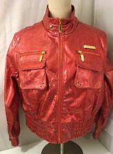 Apple Bottoms Red Polyurethane Jacket Coat Size 3X Gold Zippers Ret $128 EUC
