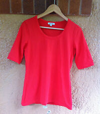 Womens Red Top Tee Blouse Size XS Ladies Cotton Short Sleeve T-shirt Casual