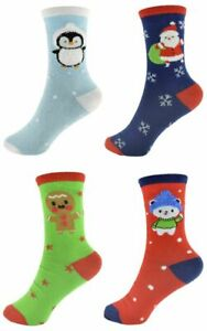 4 Pairs Kids Christmas Patterned Socks