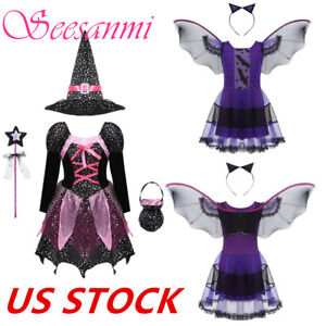 KIDS GIRLS FUNKY PUNK WITCH SKULL HALLOWEEN FANCY DRESS COSTUME FOR AGES 7-12