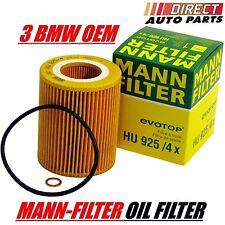 3 OEM BMW Engine Oil Filter MANN-FILTER HU925/4x