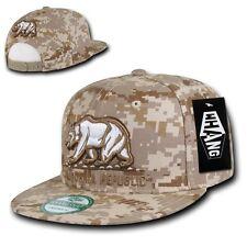 Desert Camouflage Camo California Republic Cali Bear Flat Bill Snapback Cap Hat