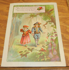 1888 Antique Color Print/LOST IN THE WOODS