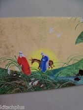 Vtg Christmas Card 60's Holy Family Donkey Flight to Egypt Hallmark Slim Jim