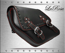 1996-2017 La Rosa Black Leather Red Stitch Cross Lace Harley Dyna Left Saddlebag