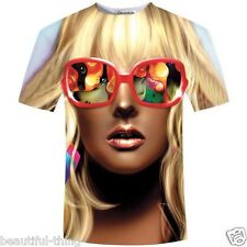 Authentic 3D T-Shirt Funny Printed Sunglasses Sexy Tattoo Beauty Girl Stylish