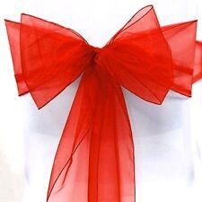 Noeud de Chaise Mariage Organza Rouge x 10