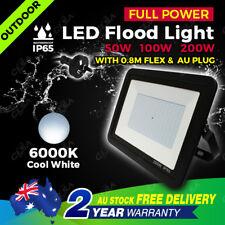 Genuine Full Power LED Flood Light 50W 100W 200W AU Plug Floodlight 240V IP65