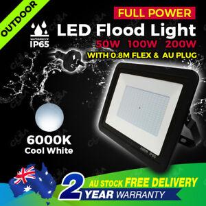 Genuine Full Power LED Flood Light 50W 100W 200W AU Plug Floodlight 240V IP66